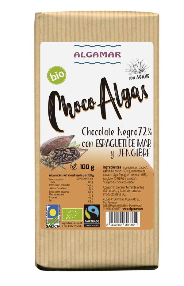 chocolate negro con algas